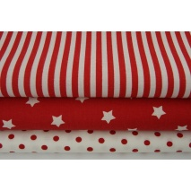 Cotton 100% red stripes 5mm