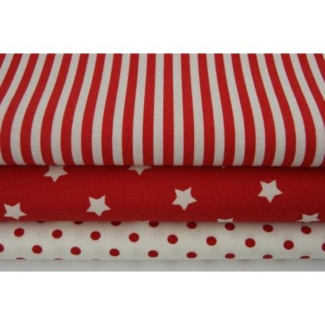 Bawełna 100% paski czerwone 5mm
