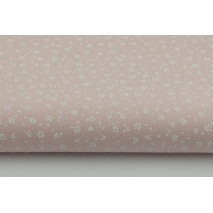 Cotton 100% white meadow on a powder pink color, small flowers
