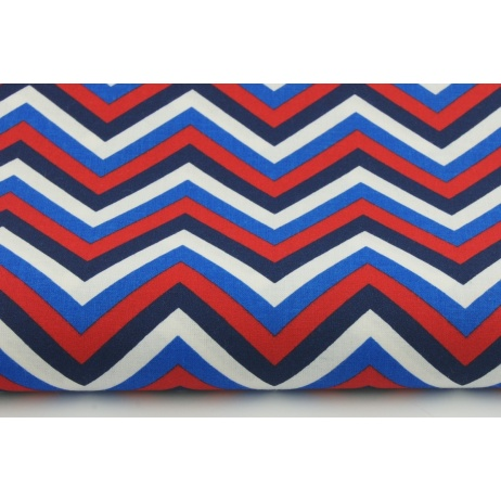 Cotton 100 Zigzag Chevron In Navy Red Blue On A White Background