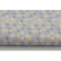 Bawełna 100% mini trójkąty fioletowo-żółte