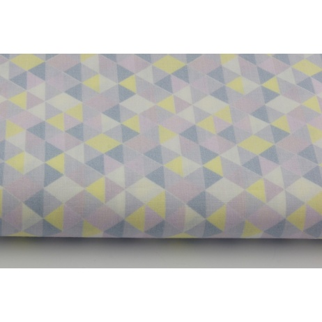 Cotton 100% violet and yellow mini, small triangles