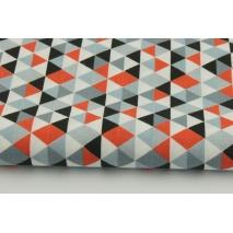 Bawełna 100% mini trójkąty pomarańczowo-szaro-czarne