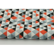 Cotton 100% orange, gray and black mini, small triangles