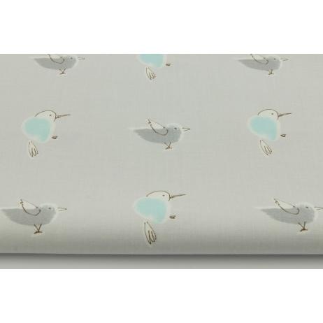 Bawełna 100% kolibry na szarym tle