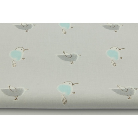 Cotton 100% hummingbirds on a gray background