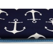 Cotton 100% white, large anchors on a navy background