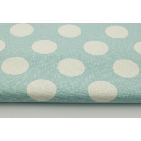 100% cotton HOME DECOR, HD large white polka dots on a minty turquoise background