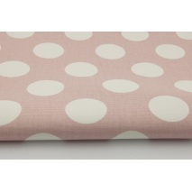 100% cotton HOME DECOR, HD large white polka dots on a dirty pink background