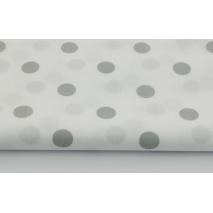 Bawełna 100% szare kropki 17mm na białym tle
