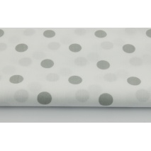 Cotton 100% gray polka dots 17mm on a white background