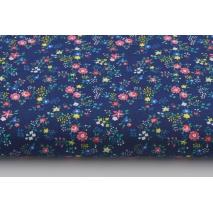 Bawełna 100% różowe, żółte, niebieskie drobne kwiatki na granatowym tle