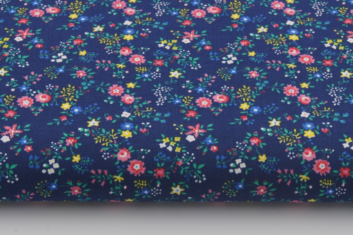 Cotton 100 Small Pink Yellow And Blue Flowers On A Navy Blue