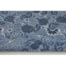 Bawełna 100%, kwiaty, łezki na niebieskim tle