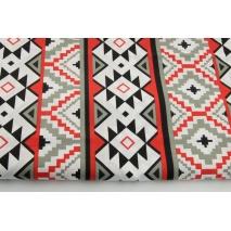 Bawełna 100%, czerwono-szary wzór aztecki