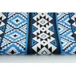 Bawełna 100%, niebiesko-granatowy wzór aztecki