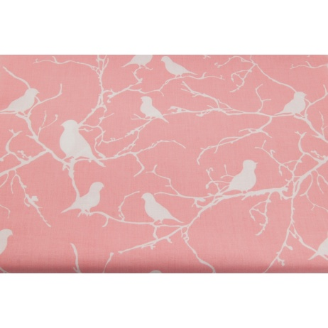 Cotton 100% birds on branches on a coral background