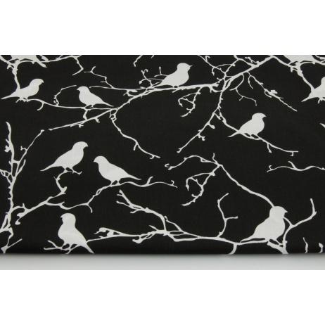 Bawełna 100% ptaszki na gałązkach, na czarnym tle