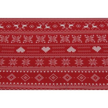 Bawełna 100% wzór skandynawski na czerwonym tle