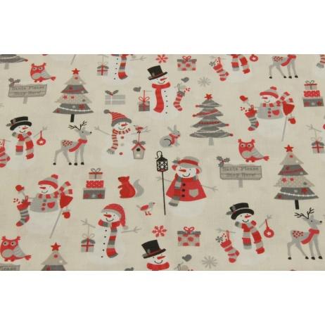 Bawełna 100% świąteczny wzór, bałwanki, choinki na kremowym tle