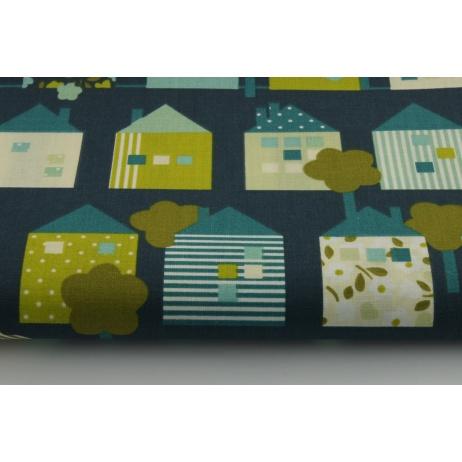 Bawełna 100% domki na granatowo-zielonym tle