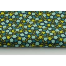 Bawełna 100% kwiatki na granatowo-zielonym tle