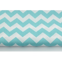 Cotton 100% turquoise sea chevron zigzag