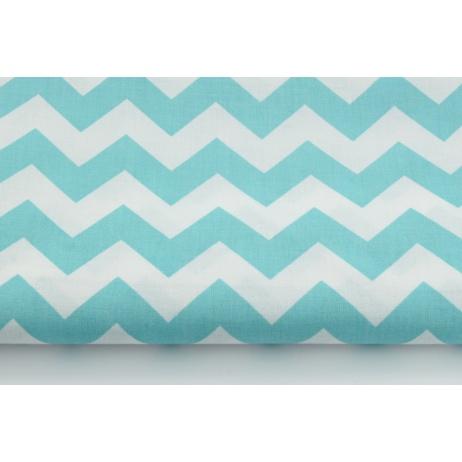 Cotton 100% turquoise sea chevron zigzag