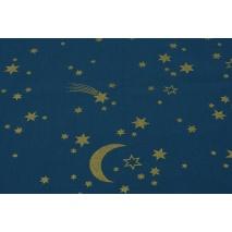 Bawełna 100% złote gwiazdki na niebieskim tle