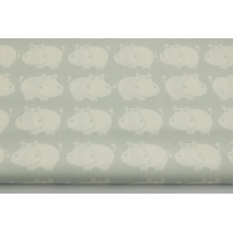 Cotton 100% hippos on a gray-mint background