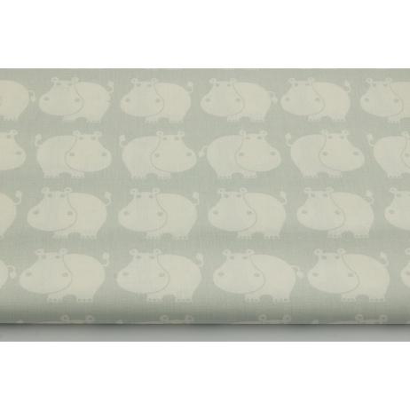 Bawełna 100% hipopotamy na szaro-miętowym tle