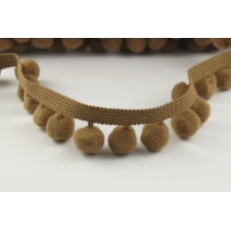 Ribbon light brown, big pom poms