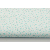 Cotton 100% turquoise meadow on white background, small flowers