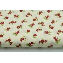 Bawełna 100% bordowe kwiatki na kremowym tle