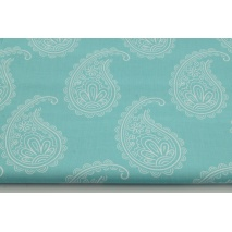 Cotton 100% paisley on a turquoise background