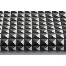 Bawełna 100% czarno-szare trójkąty 3D