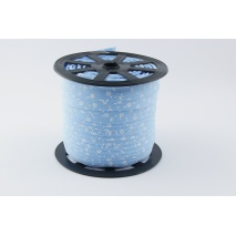 Lamówka bawełniana biała łączka na niebieskim tle