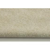 Bawełna 100% biała koronka na beżowym tle