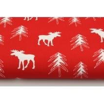 100% Cotton, white moose, reindeer, Christmas tree on red background