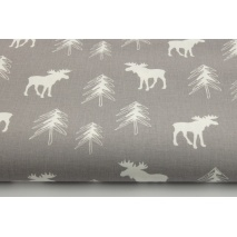 100% Cotton, white moose, reindeer, Christmas tree on light gray background