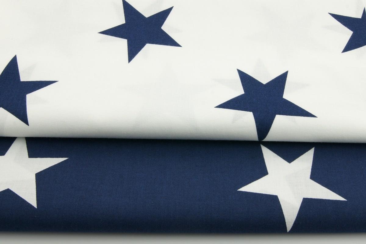 Cotton 100 Big Navy Blue Stars On A White Background