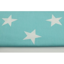 Cotton 100% big stars on a turquoise background