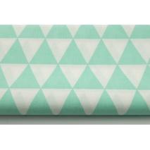 Bawełna 100% miętowy 2 trójkąty na białym tle