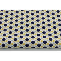 Cotton 100% mix circles navy-yellow-gray