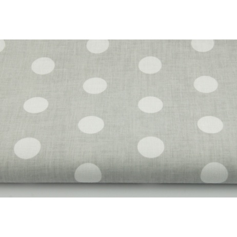 Cotton 100% polka dots 22mm on a light gray background 2