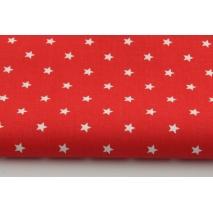 Bawełna 100%, białe gwiazdki 8mm na czerwonym tle