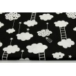 Cotton 100% clouds with ladders on a black background