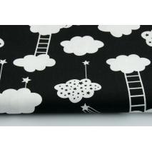 Bawełna 100% chmurki z drabinami na czarnym tle