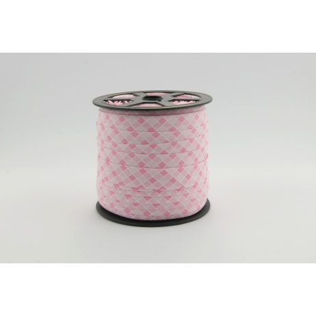 Cotton bias binding pink check 5mm pattern