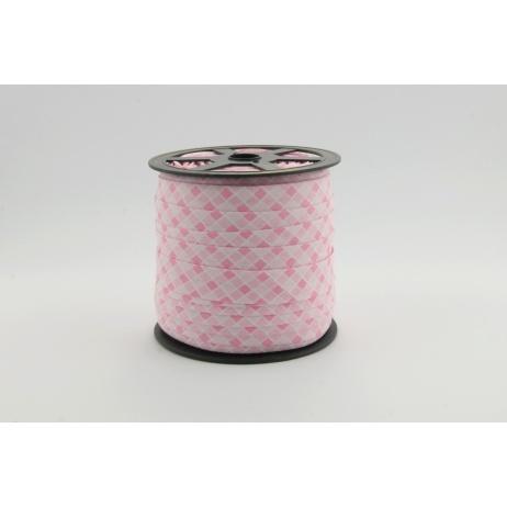 Lamówka bawełniana różowa kratka o szerokości 5mm